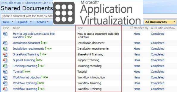 Opening documents from Sharepoint site with virtualized Office can cause problems.